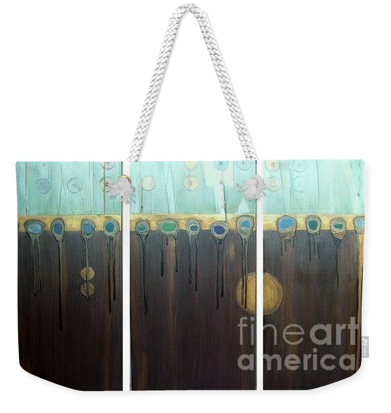 Triptych Weekender Tote Bag featuring the painting Tripped Out by Marlene Burns