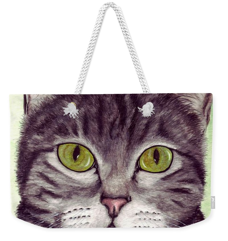 Cat Weekender Tote Bag featuring the painting Tripper by Kristen Wesch