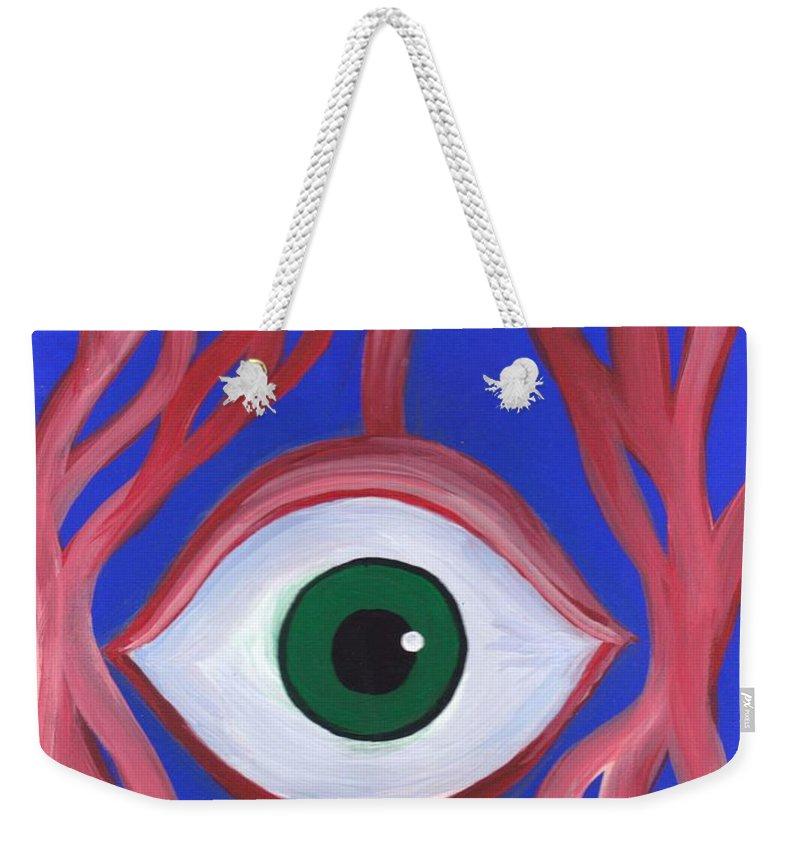 Trippy Eyeball Acrylic Horror Painting On Canvas Weekender Tote Bag