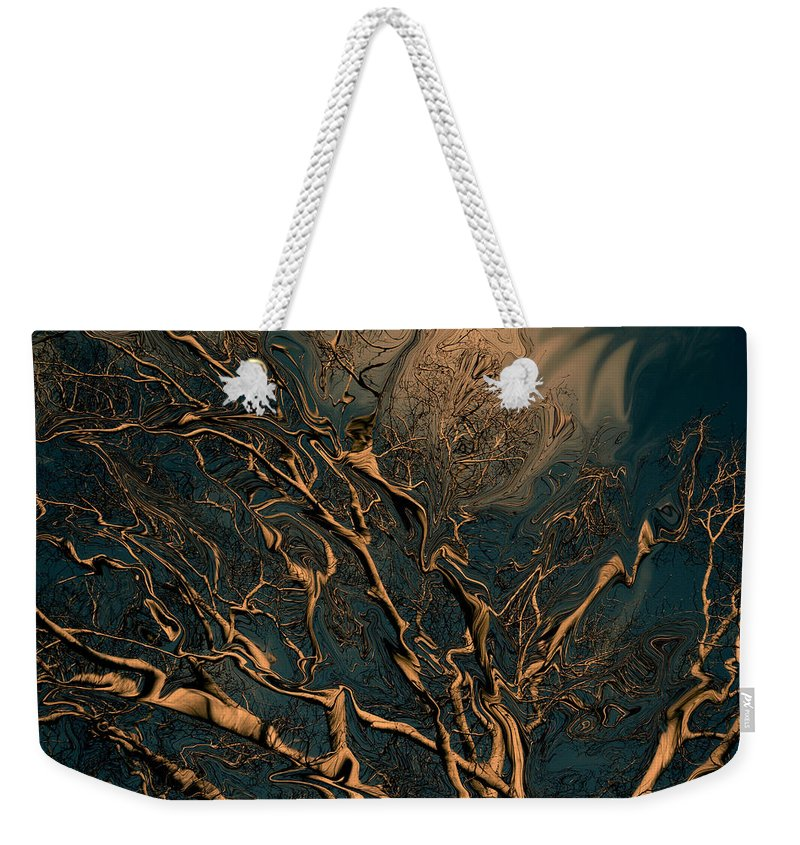Trees Nature Abstract Digital Painting Weekender Tote Bag featuring the photograph Trippy Tree by Linda Sannuti