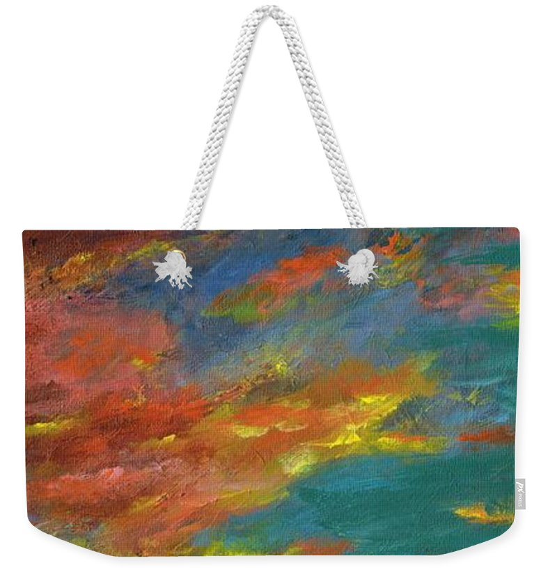Desert Weekender Tote Bag featuring the painting Triptych 1 Desert Sunset by Frances Marino
