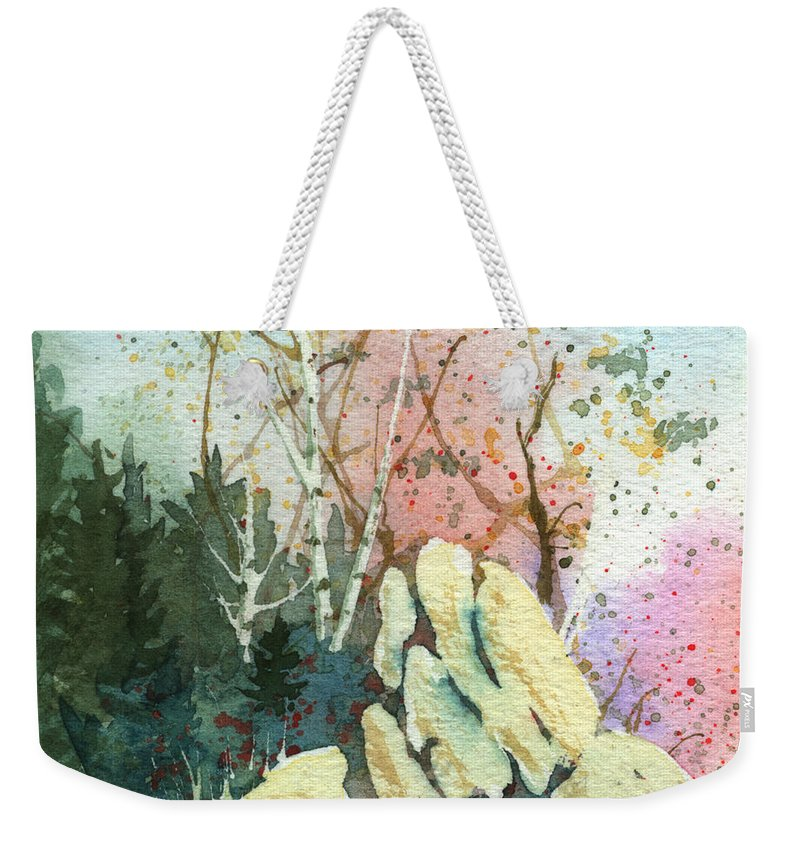 Landscape Weekender Tote Bag featuring the painting Triptych Panel 1 by Lynn Quinn