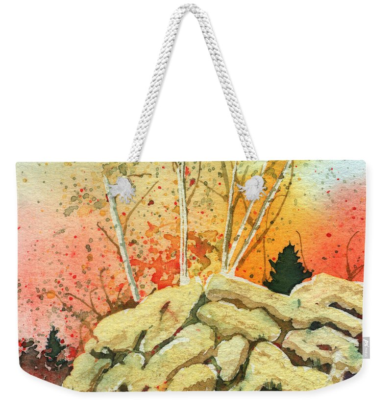 Landscape Weekender Tote Bag featuring the painting Triptych Panel 2 by Lynn Quinn