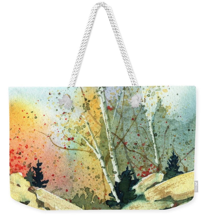 Landscape Weekender Tote Bag featuring the painting Triptych Panel 3 by Lynn Quinn