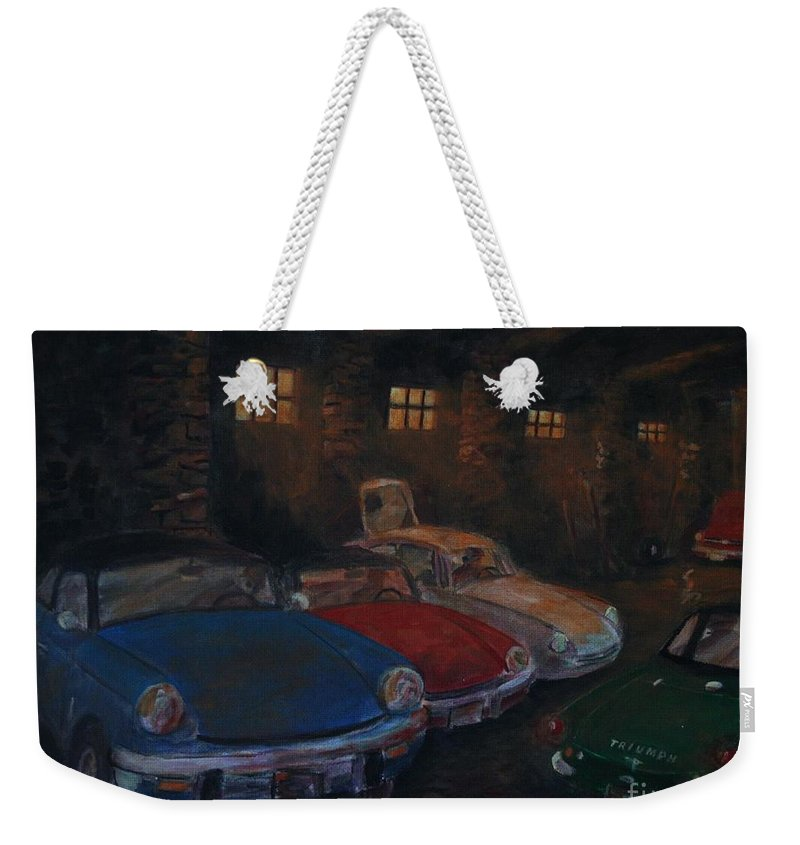 British Sports Cars Weekender Tote Bag featuring the painting Triumph Garage by William Bezik