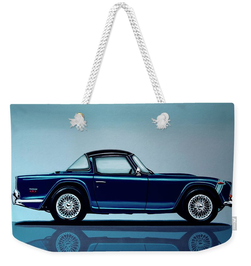Triumph Tr5 Weekender Tote Bag featuring the painting Triumph Tr5 1968 Painting by Paul Meijering