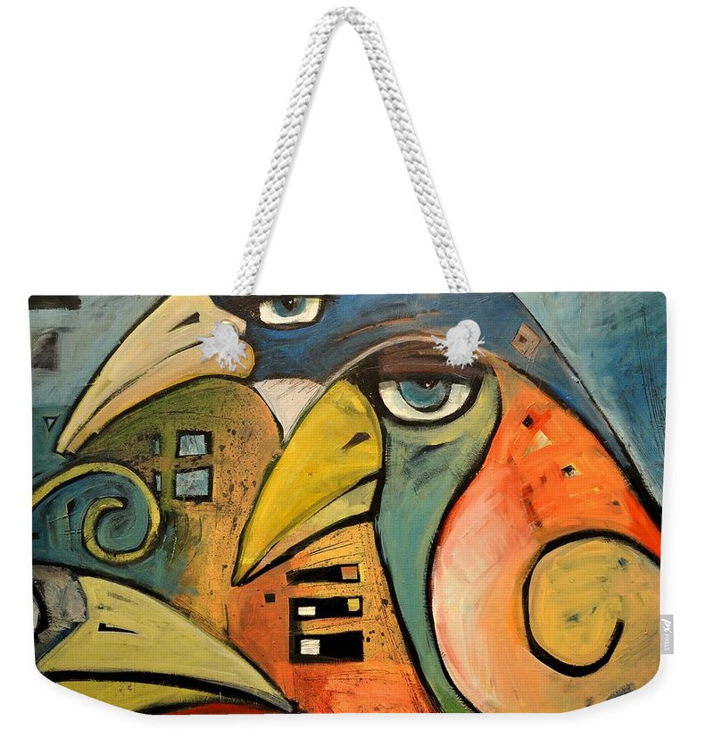 Birds Weekender Tote Bag featuring the painting Trois Oiseaux by Tim Nyberg