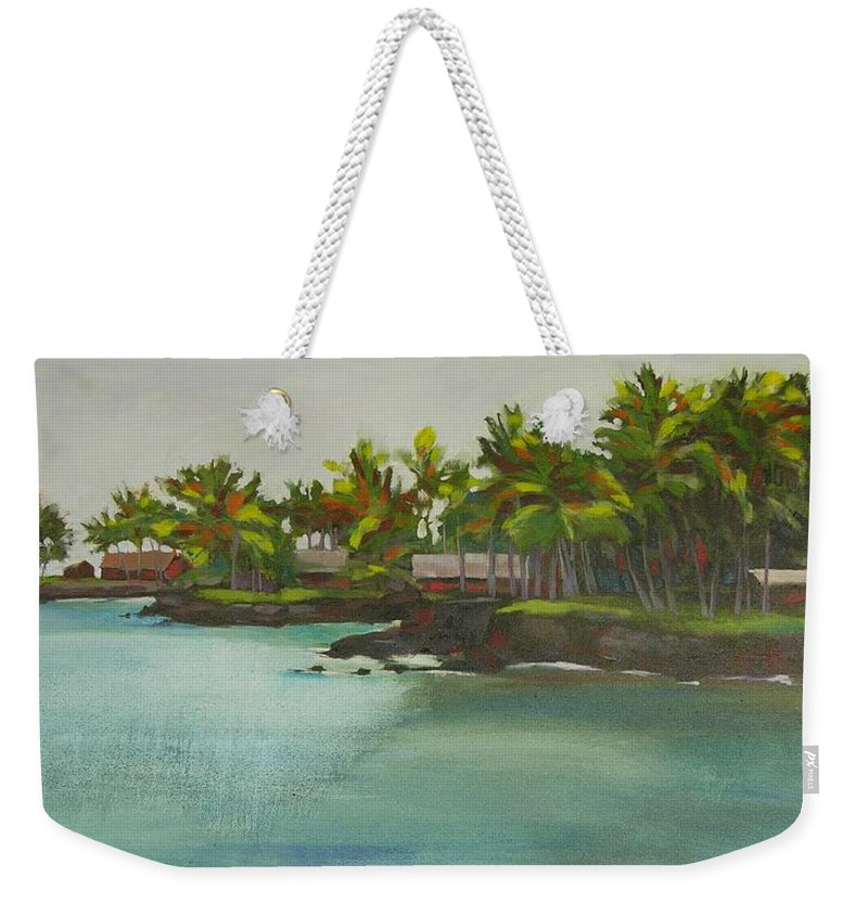 Oil Weekender Tote Bag featuring the painting Tropical Bay by Mary McInnis