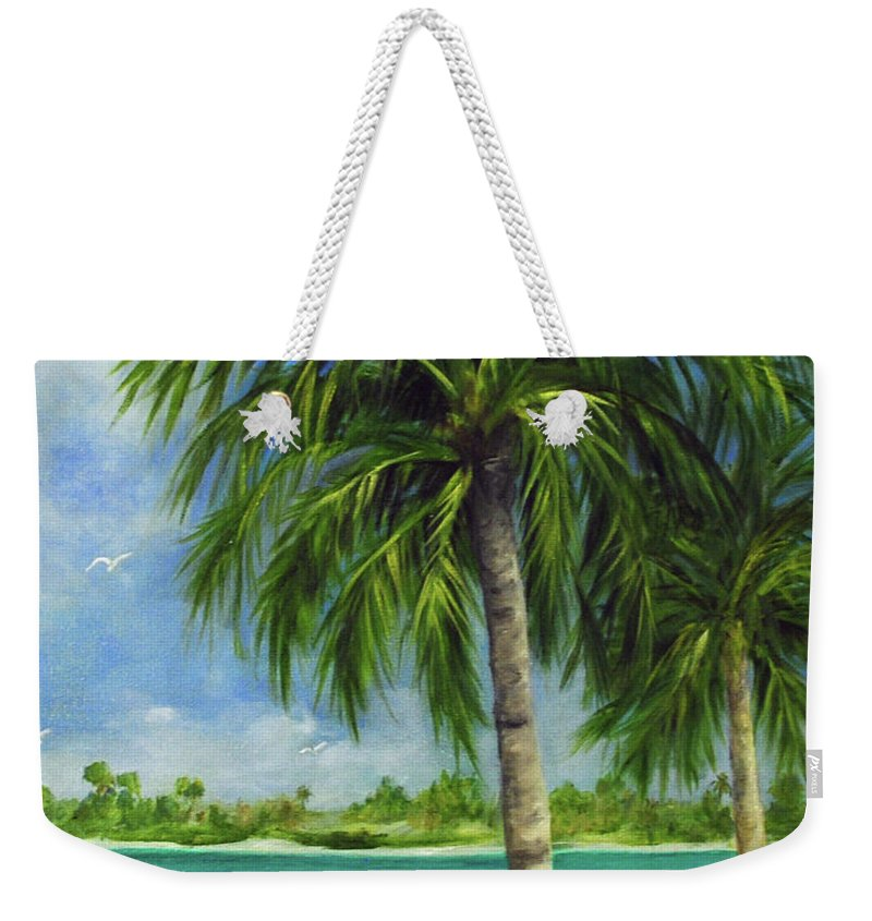 Palm Weekender Tote Bag featuring the painting Tropical Beach Two by Carolyn Shireman