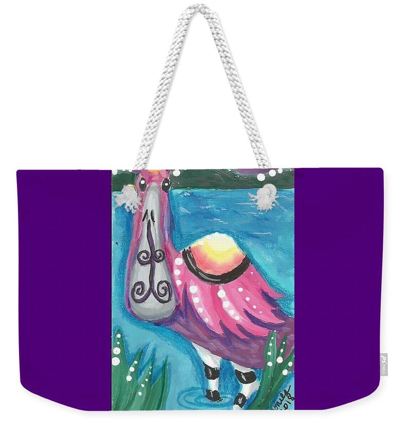 Roseate Spoonbill Weekender Tote Bag featuring the painting Tropical Bird by Monica Resinger