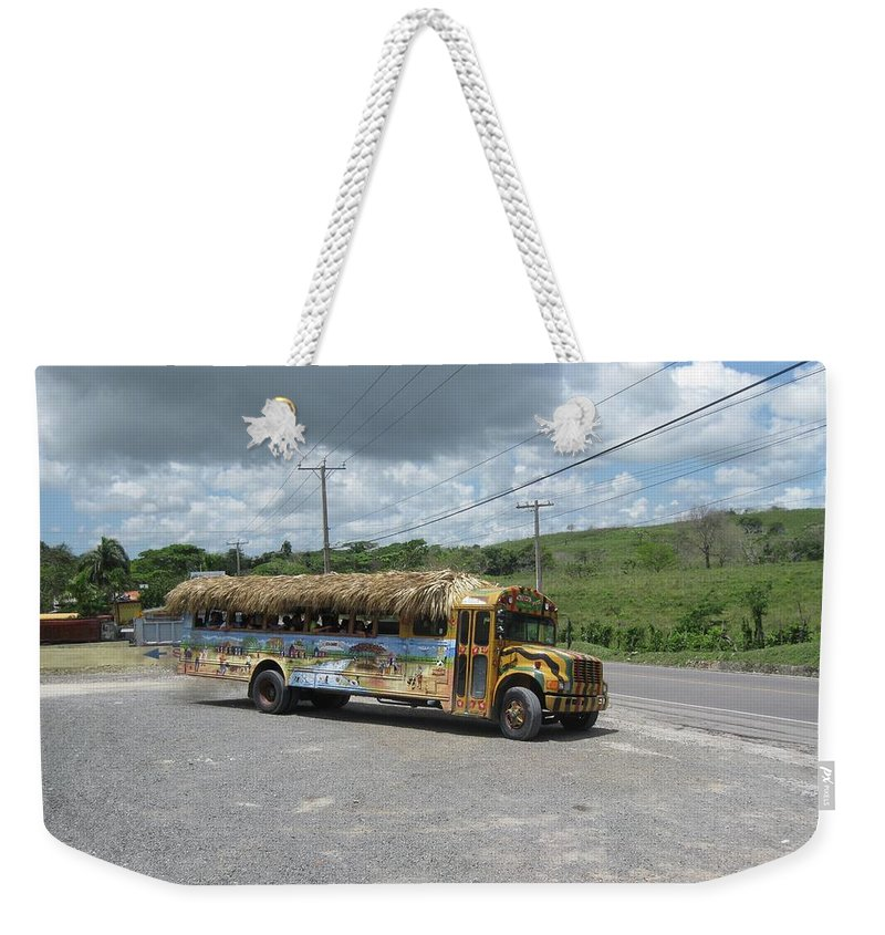 Bus Weekender Tote Bag featuring the photograph Tropical Bus by Cynthia Iwen