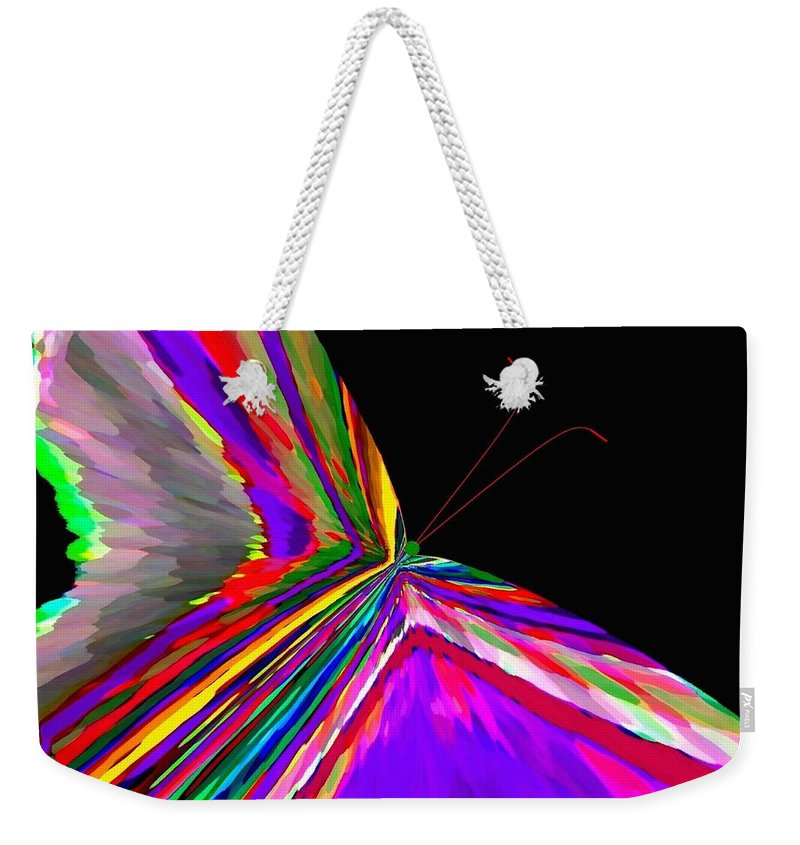 Abstract Weekender Tote Bag featuring the digital art Tropical Butterfly by Will Borden