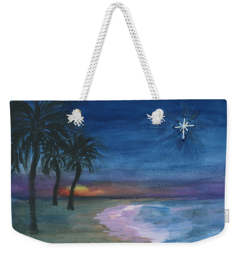 Palm Trees Weekender Tote Bag featuring the painting Tropical Christmas by Donna Walsh