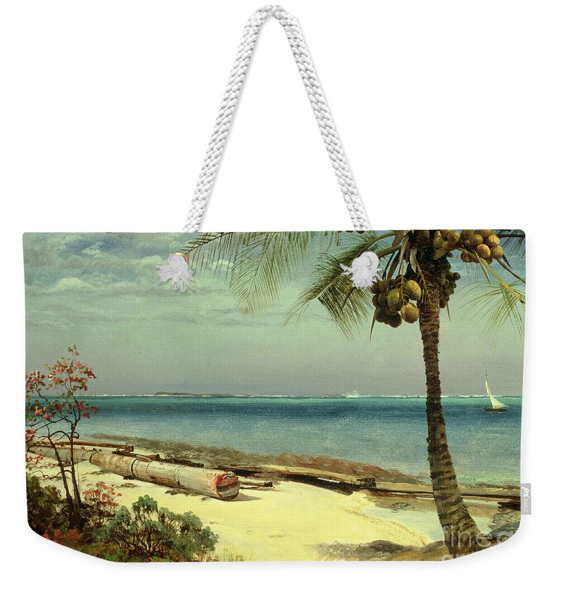 Shore; Exotic; Palm Tree; Coconut; Sand; Beach; Sailing Weekender Tote Bag featuring the painting Tropical Coast by Albert Bierstadt