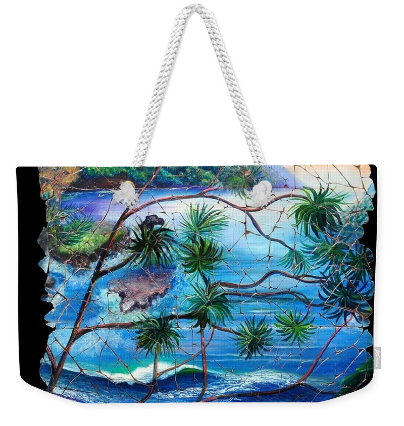 Tropical Cove Set Weekender Tote Bag featuring the painting Tropical Cove Fresco Triptych 2 by OLena Art Lena Owens