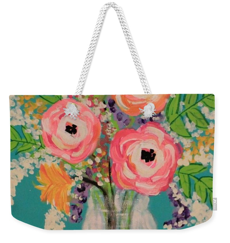 Mason Jar Weekender Tote Bag featuring the painting Tropical Flair by Melisa Farthing