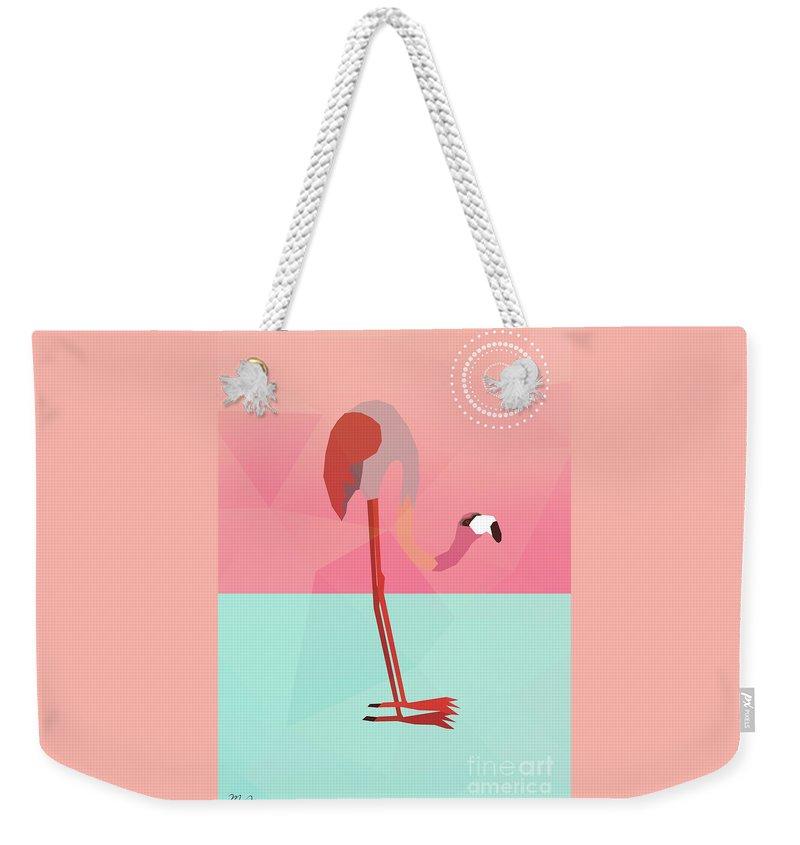 Flamingo Weekender Tote Bag featuring the digital art Tropical Flamingo by Mark Ashkenazi