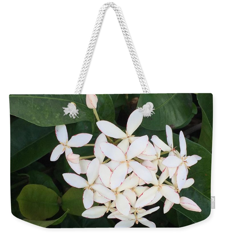 Floral Weekender Tote Bag featuring the photograph Tropical Flower by Lisa Cassinari