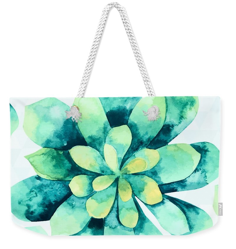 Summer Weekender Tote Bag featuring the painting Tropical Flower by Mark Ashkenazi