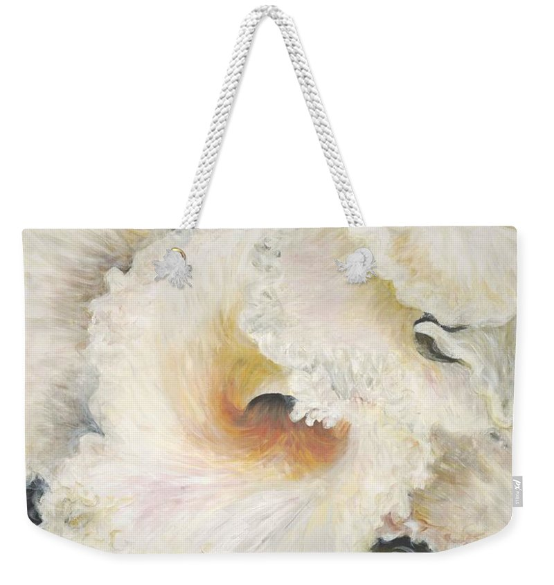 Flower Weekender Tote Bag featuring the painting Tropical Flowers by Nadine Rippelmeyer