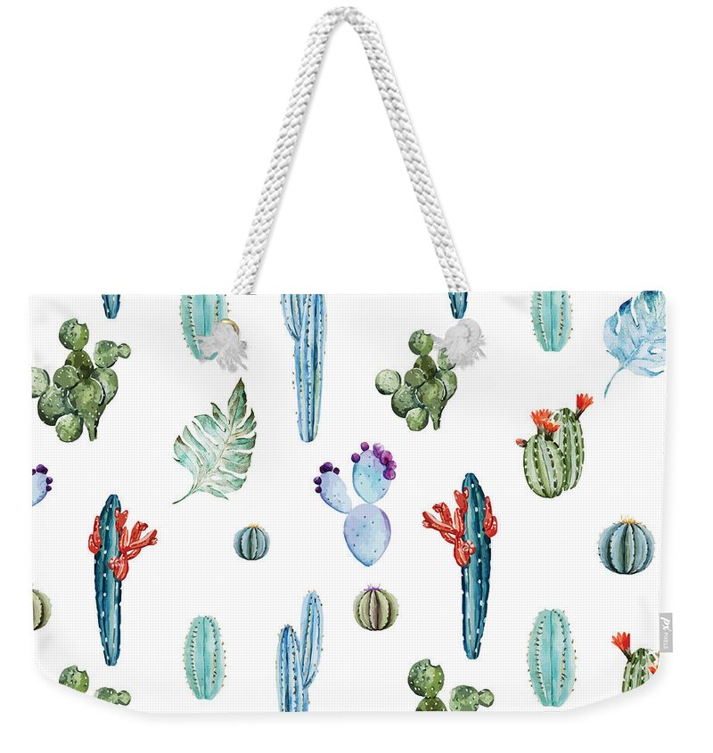 Summer Weekender Tote Bag featuring the painting Tropical Forever 2 by Mark Ashkenazi