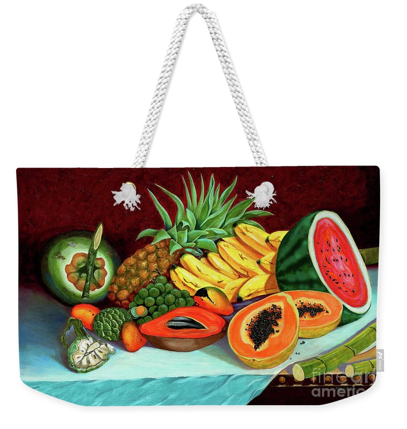 Coconut Weekender Tote Bag featuring the painting Tropical Fruits by Jose Manuel Abraham