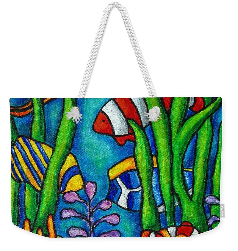 Tropical Weekender Tote Bag featuring the painting Tropical Gems by Lisa Lorenz