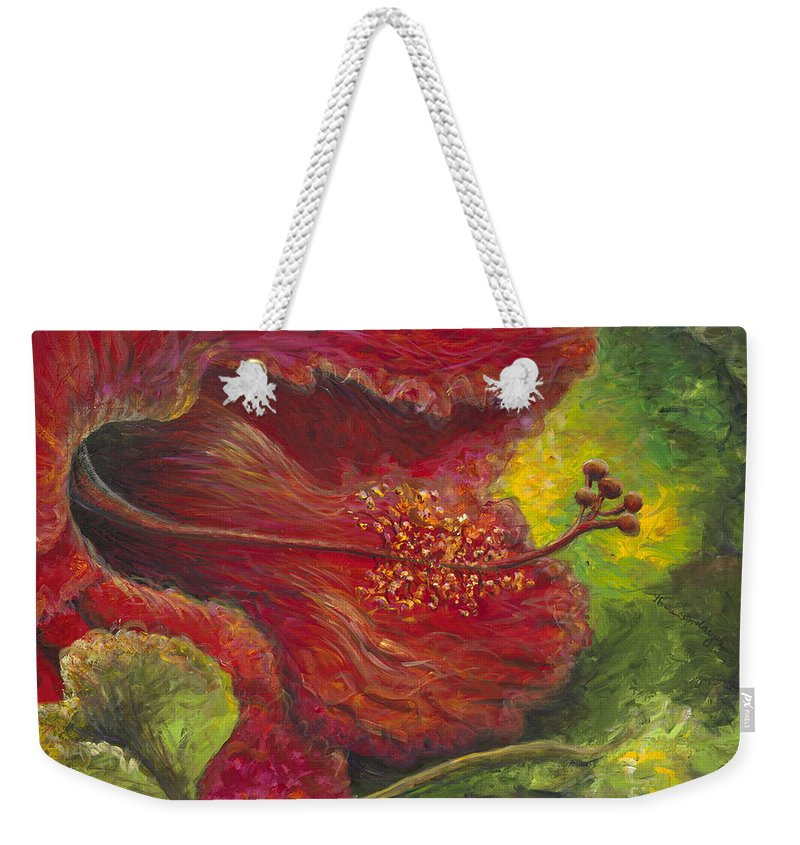 Flowers Weekender Tote Bag featuring the painting Tropical Hibiscus by Nadine Rippelmeyer