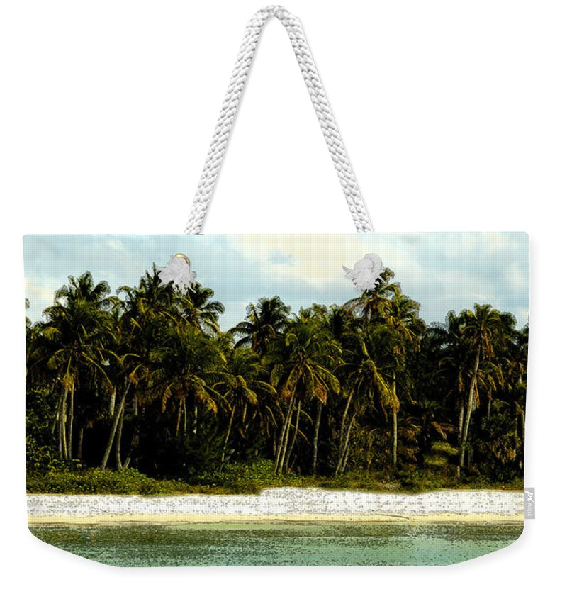 Tropical Weekender Tote Bag featuring the painting Tropical Island by David Lee Thompson