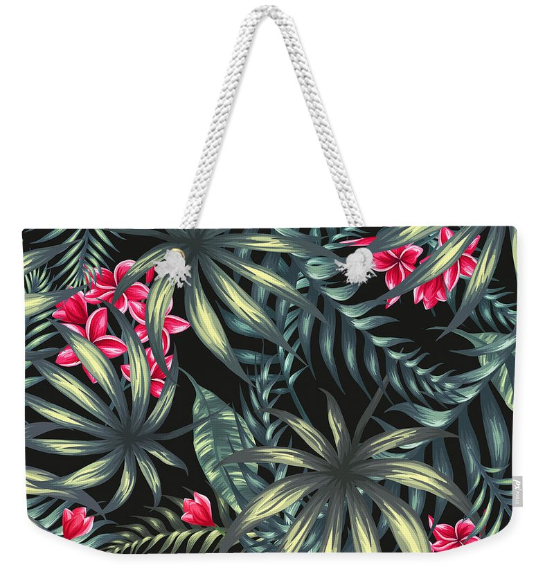 Tropical Weekender Tote Bag featuring the painting Tropical Leaf Pattern by Stanley Wong