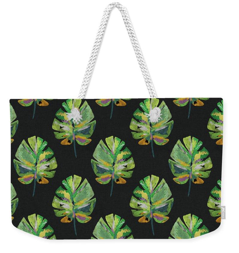 Palm Leaf Weekender Tote Bag featuring the mixed media Tropical Leaves On Black- Art by Linda Woods by Linda Woods