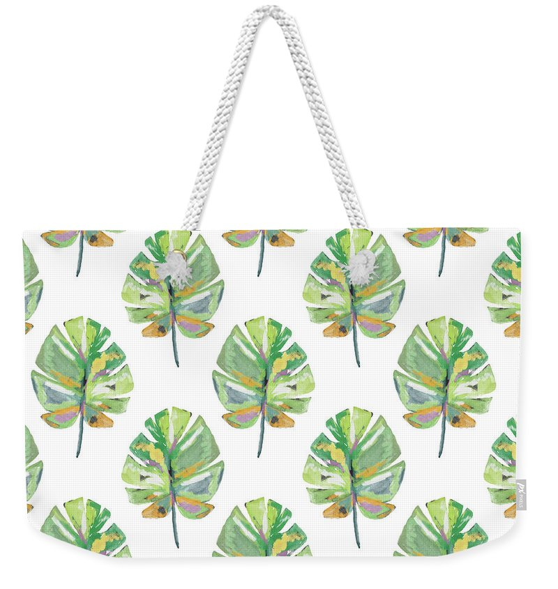 Tropical Weekender Tote Bag featuring the mixed media Tropical Leaves On White- Art By Linda Woods by Linda Woods