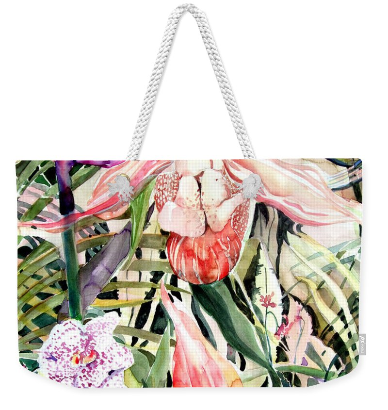 Watercolor Weekender Tote Bag featuring the painting Tropical Orchids by Mindy Newman