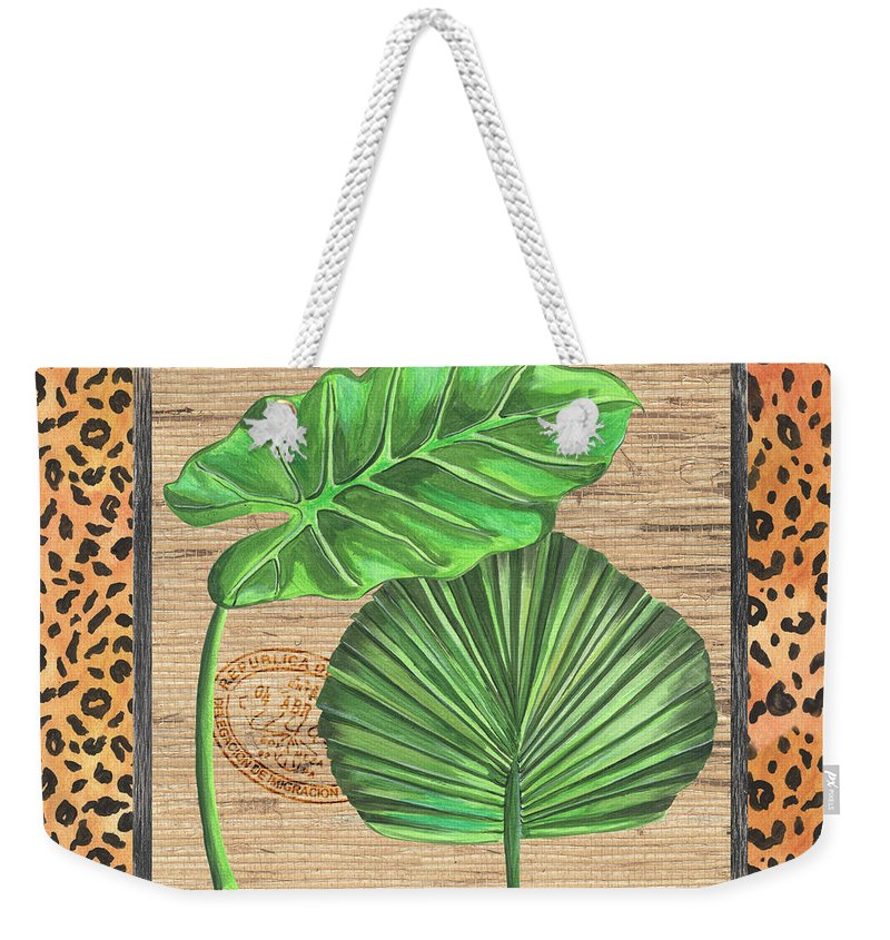Palm Weekender Tote Bag featuring the painting Tropical Palms 1 by Debbie DeWitt