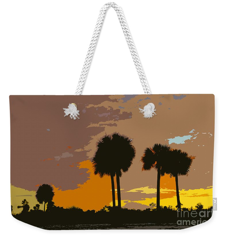 Tropical Weekender Tote Bag featuring the painting Tropical Palms Work Number Three by David Lee Thompson