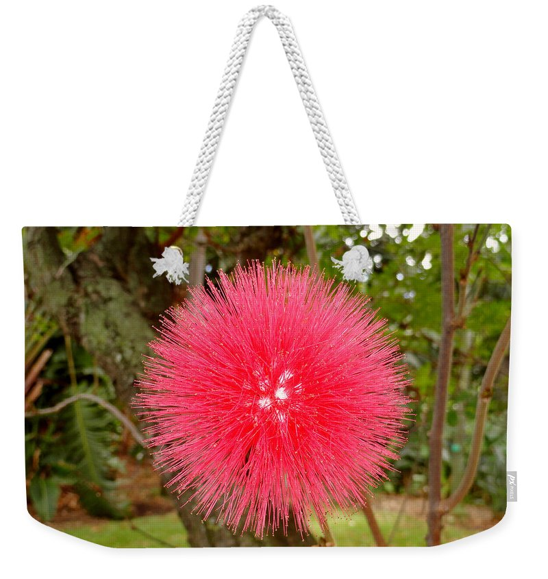 Red Weekender Tote Bag featuring the photograph Tropical Red Puff by Robert Meyers-Lussier