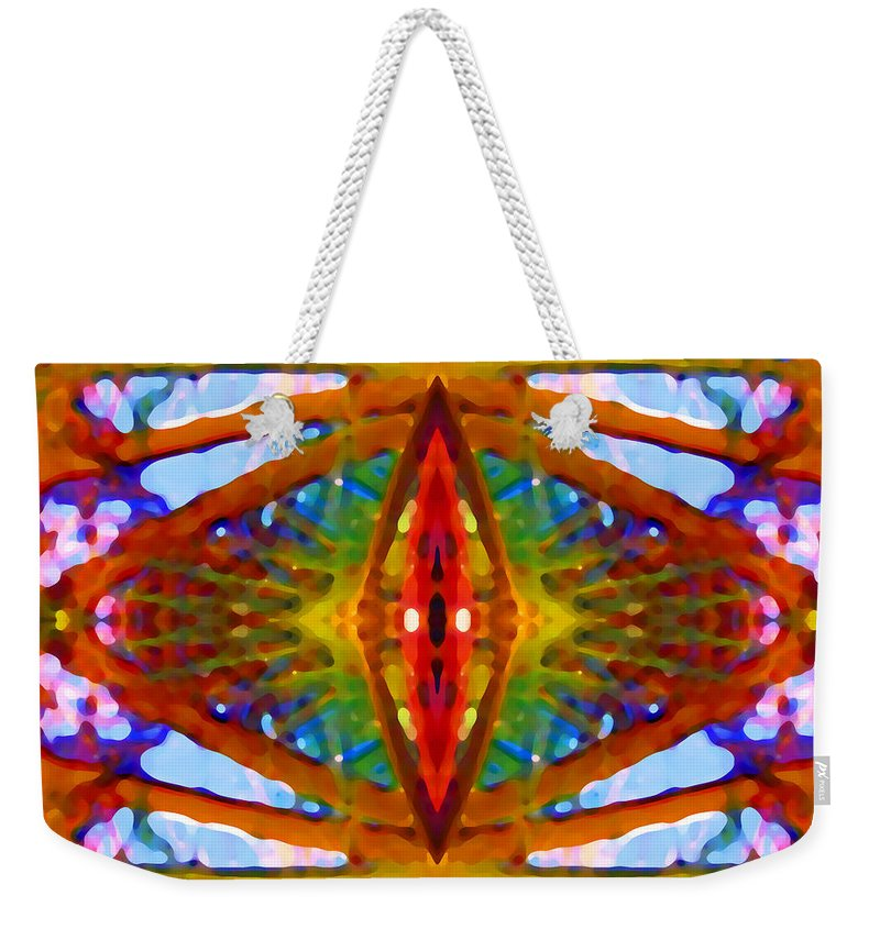 Abstract Weekender Tote Bag featuring the painting Tropical Stained Glass by Amy Vangsgard