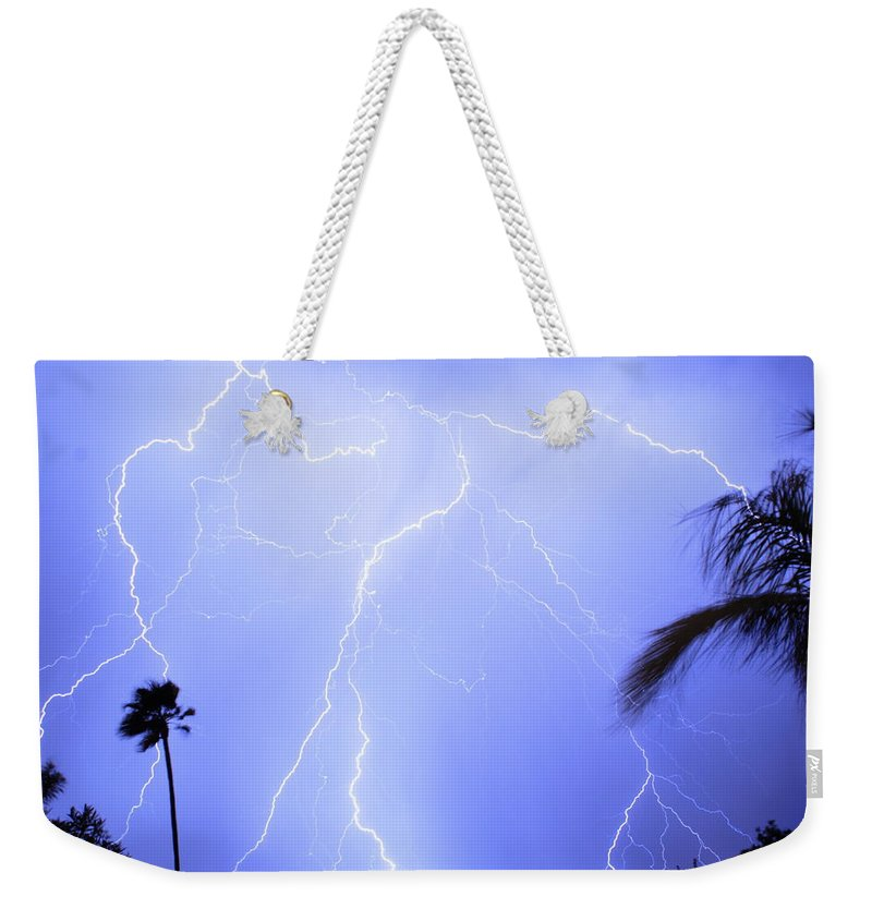 Lightning Weekender Tote Bag featuring the photograph Tropical Storm by James BO Insogna