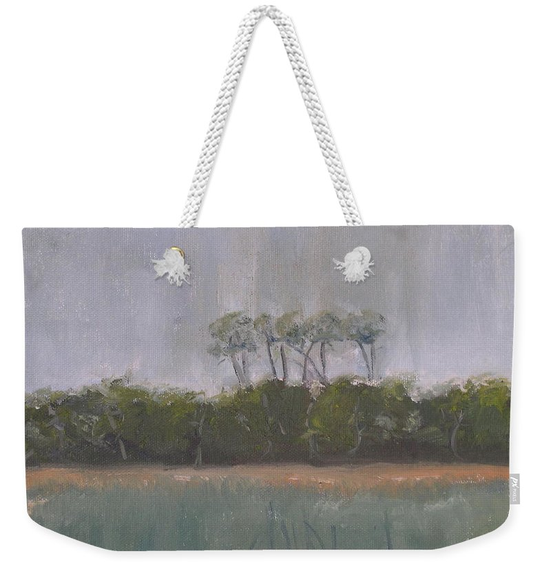 Landscape Beach Coast Tree Water Weekender Tote Bag featuring the painting Tropical Storm by Patricia Caldwell