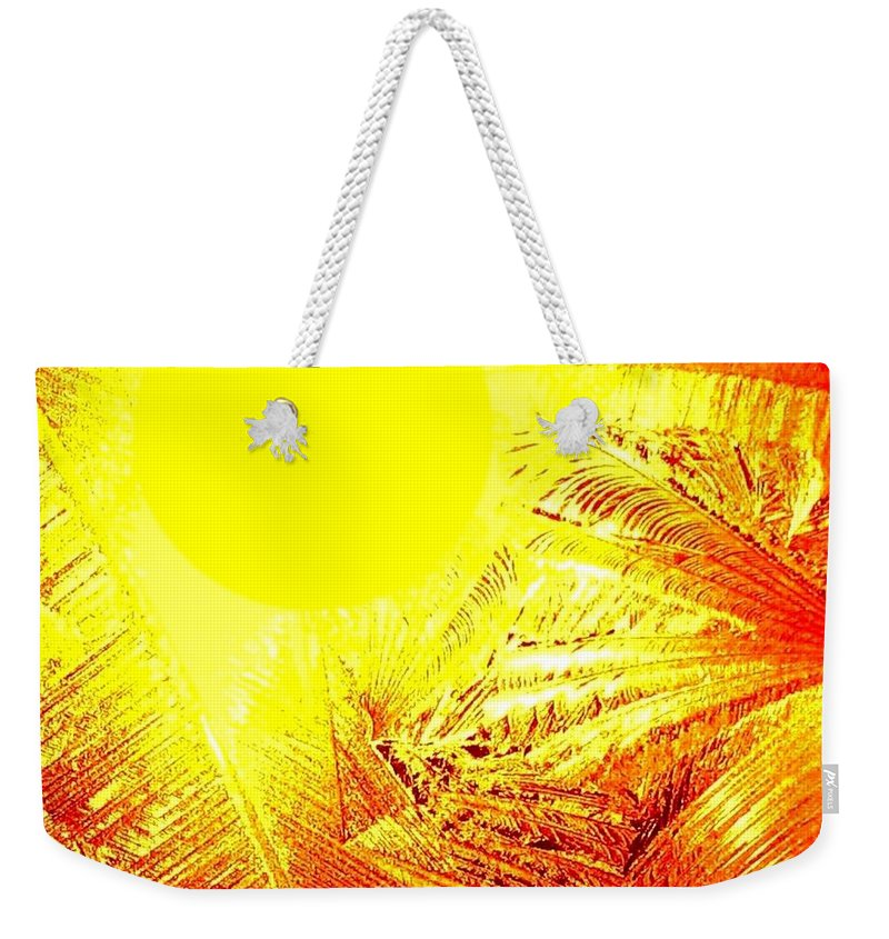 Abstract Weekender Tote Bag featuring the digital art Tropical Sunrise by Will Borden
