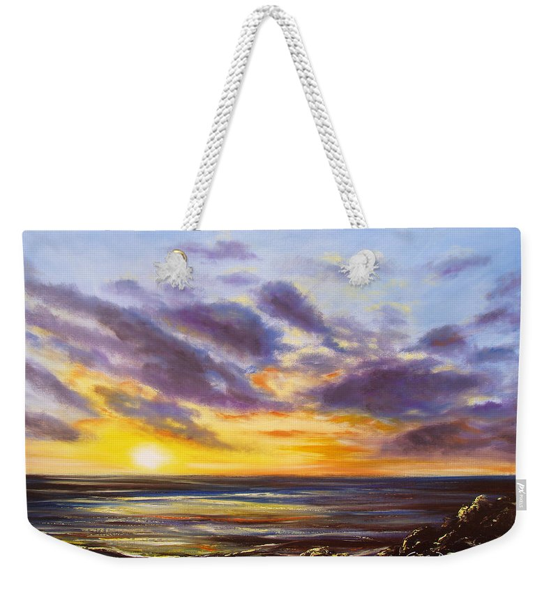 Oil Weekender Tote Bag featuring the painting Tropical Sunset by Gina De Gorna