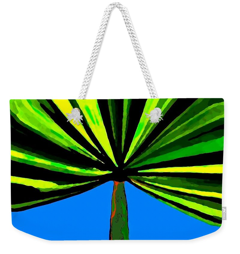 Abstract Weekender Tote Bag featuring the digital art Tropical Tree by Will Borden