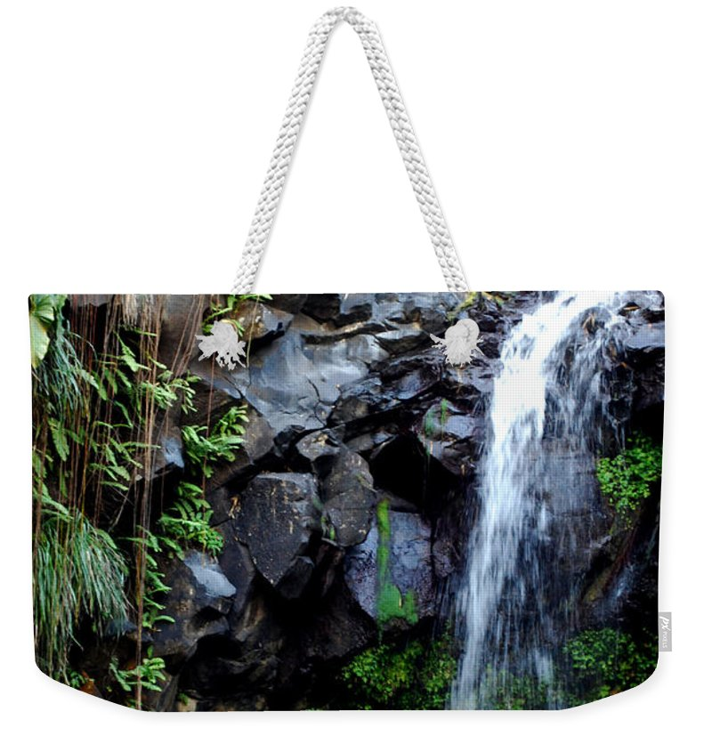 Waterfall Weekender Tote Bag featuring the photograph Tropical Waterfall by Gary Wonning