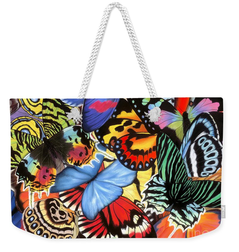 Butterflies Weekender Tote Bag featuring the painting Tropical Wings by Lucy Arnold