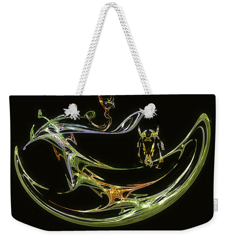 Boat Weekender Tote Bag featuring the digital art Trouble In Paradise by RC DeWinter