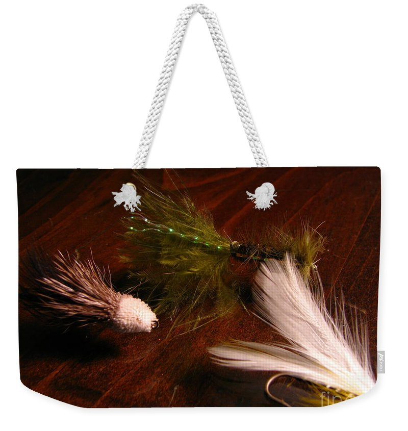 Patzer Weekender Tote Bag featuring the photograph Trout Flys by Greg Patzer