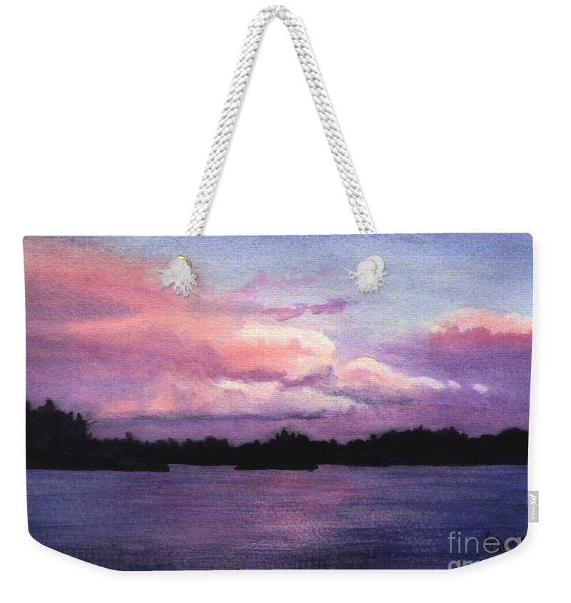 Landscape Weekender Tote Bag featuring the painting Trout Lake Sunset I by Lynn Quinn
