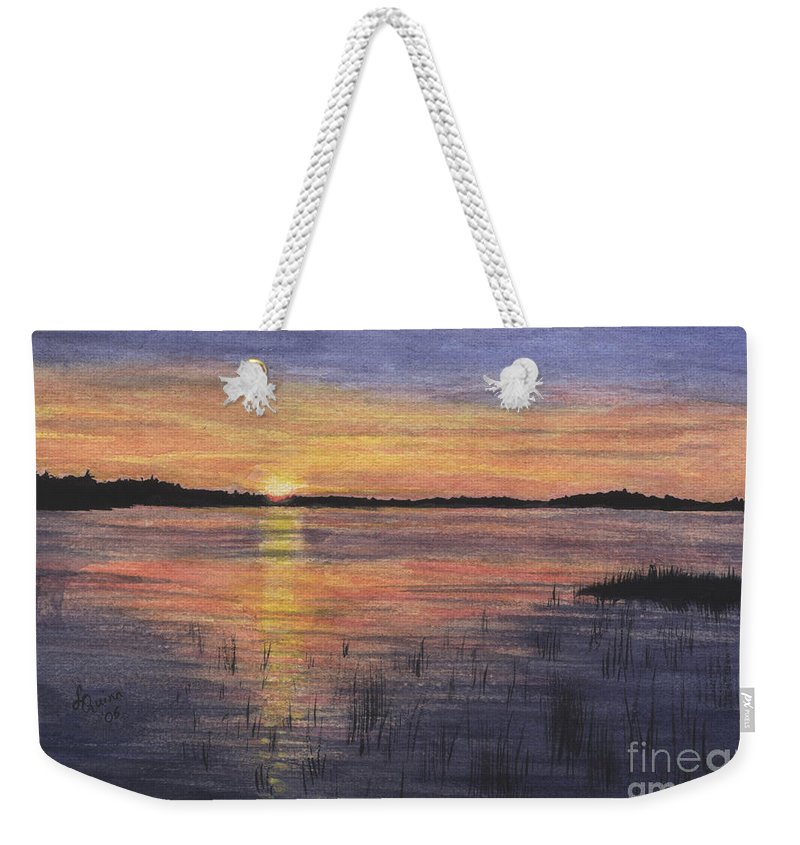 Landscape Weekender Tote Bag featuring the painting Trout Lake Sunset II by Lynn Quinn