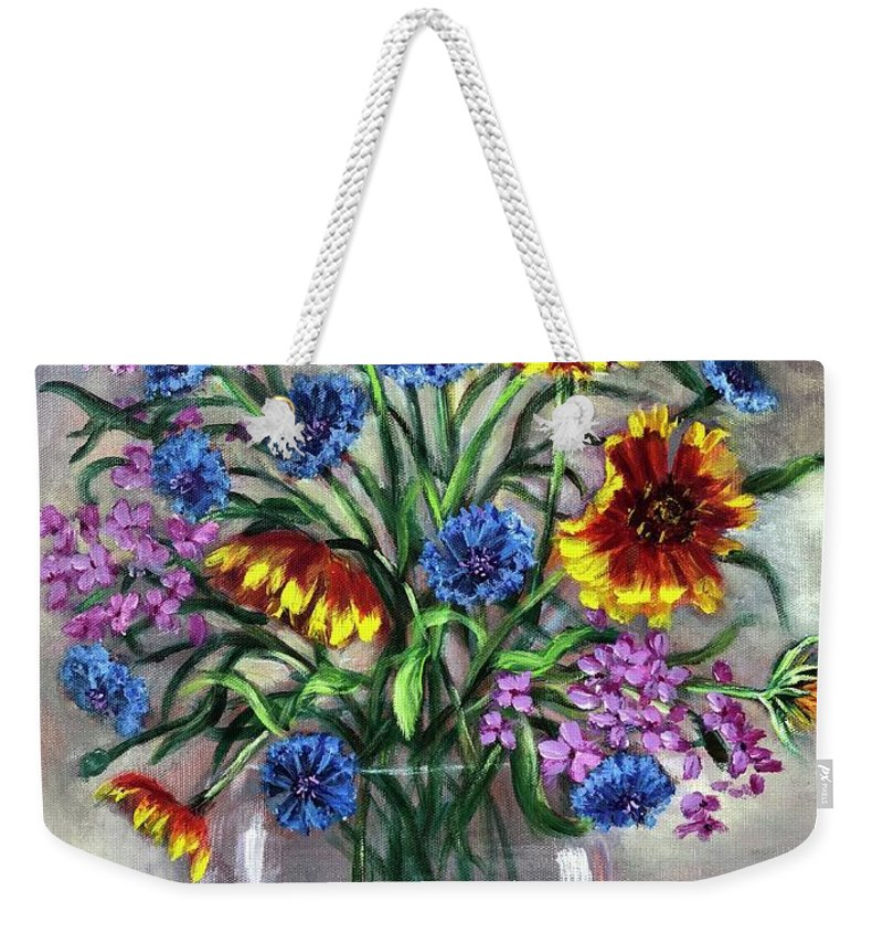 Blue Weekender Tote Bag featuring the painting True Blue by Randy Burns