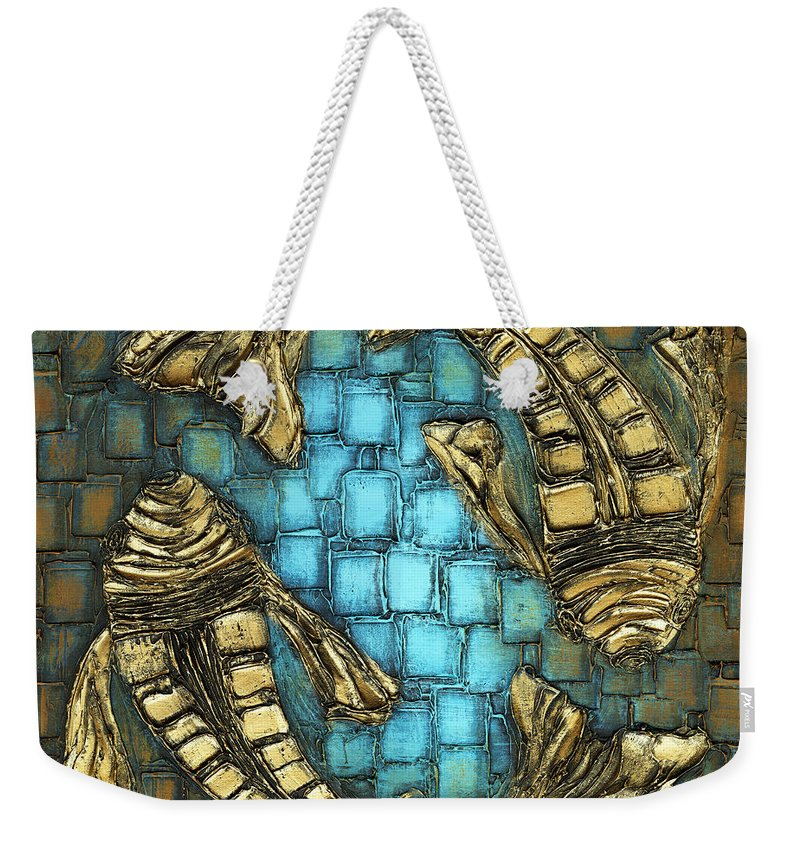 Koi Fish Weekender Tote Bag featuring the painting True Love by Susanna Shaposhnikova